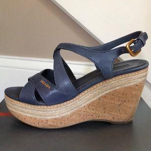 Prada Espadrilles Wedge, 37 1/2, Blue Leather